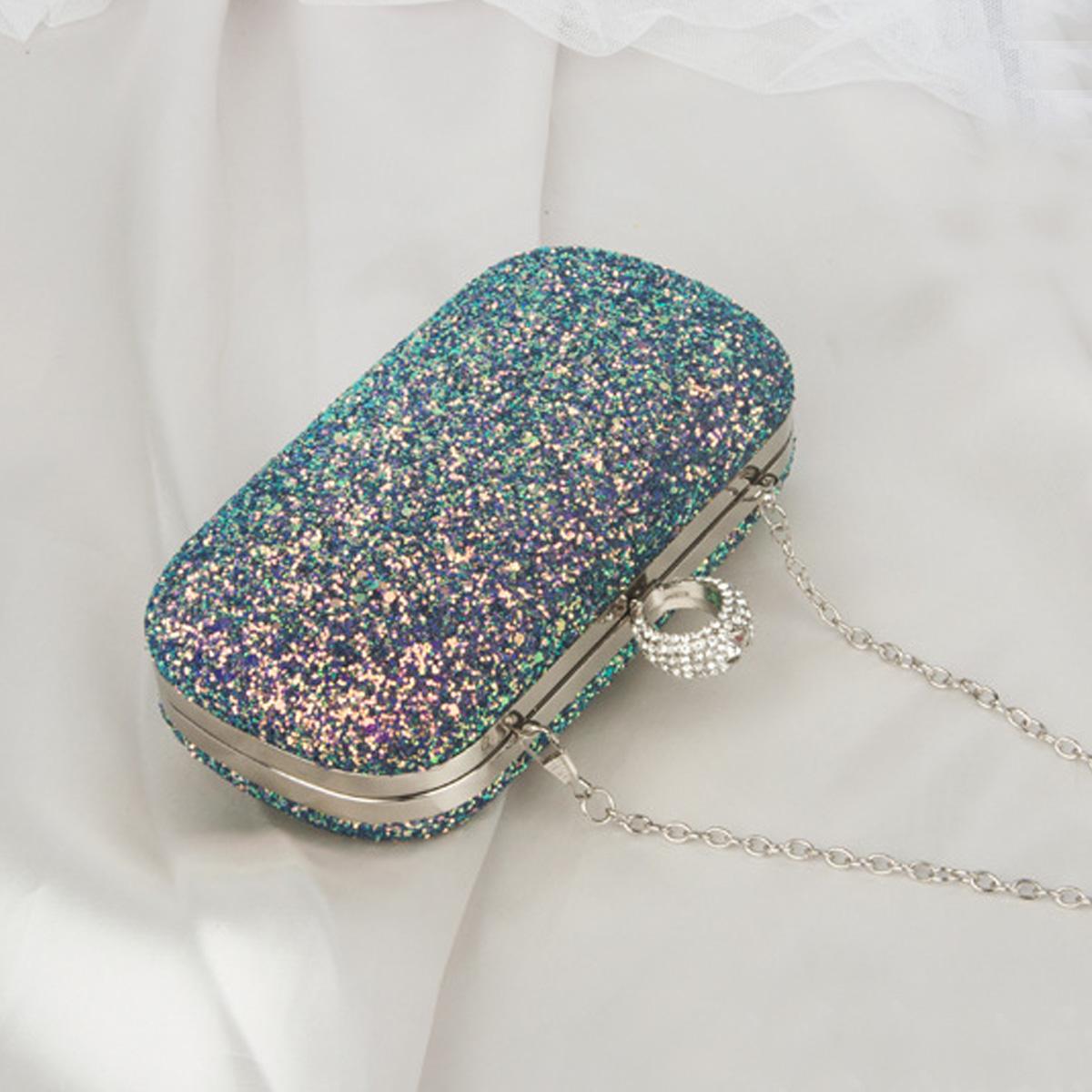 Sequin Gold Chain Rhinestone Detail Evening Bag