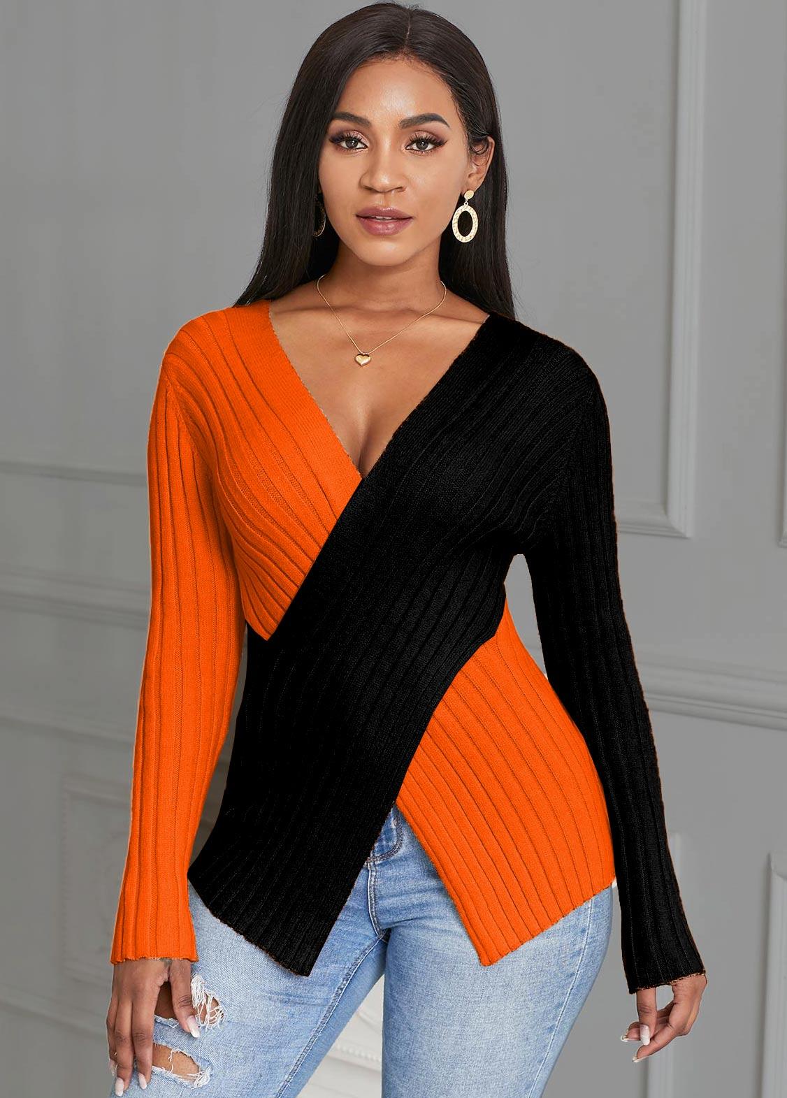Contrast Cross Front Asymmetric Hem Sweater