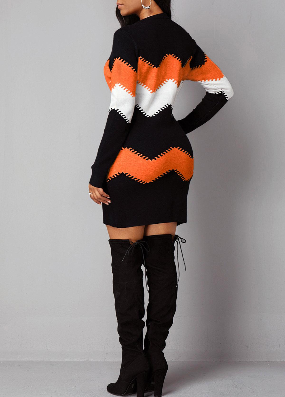 Chevron Print Round Neck Long Sleeve Sweater Dress