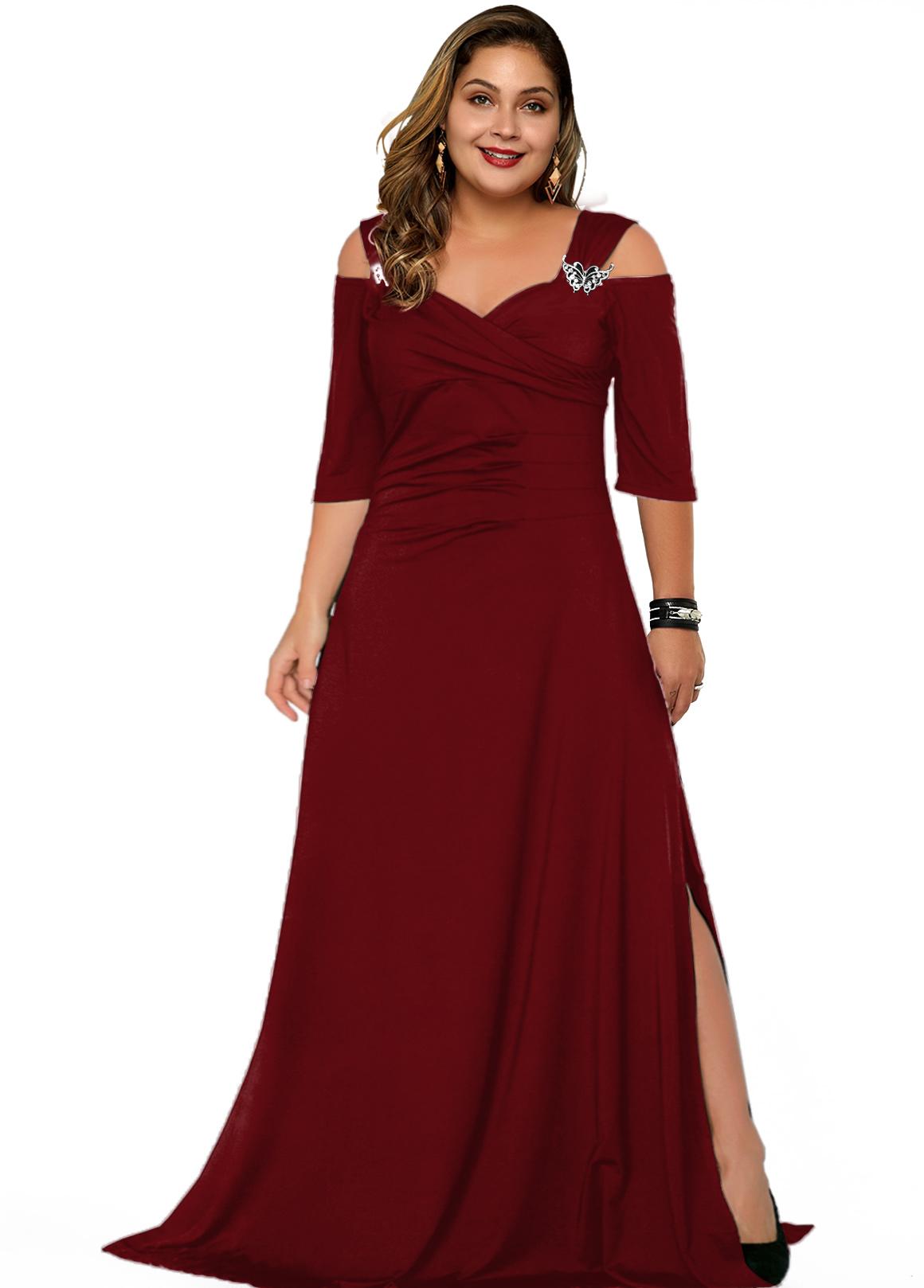 Solid Cold Shoulder Plus Size Dress