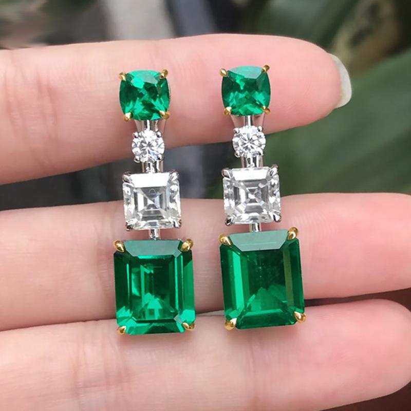 Emerald Geometric Design Rhinestone Detail Earring Set