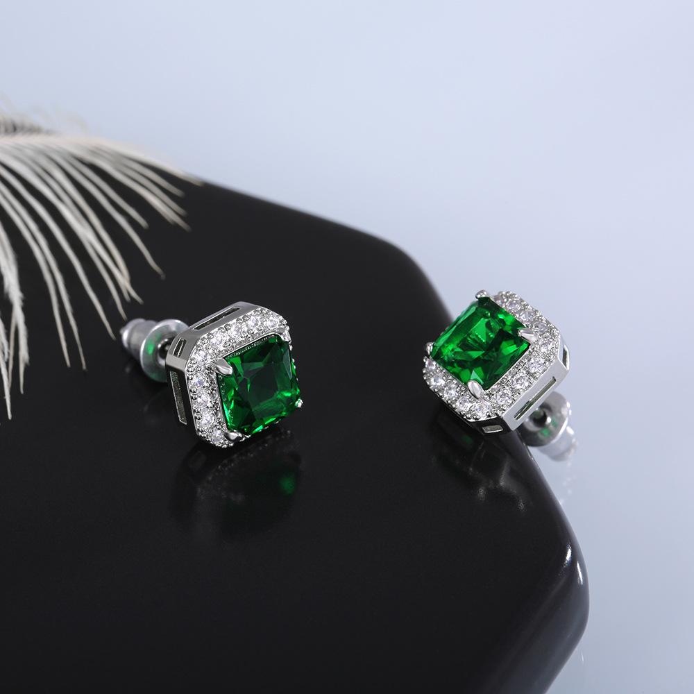 1 Pair Square Emerald Rhinestone Earrings
