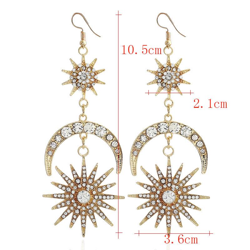 Sun Design Gold Rhinestone Detail Earring Set
