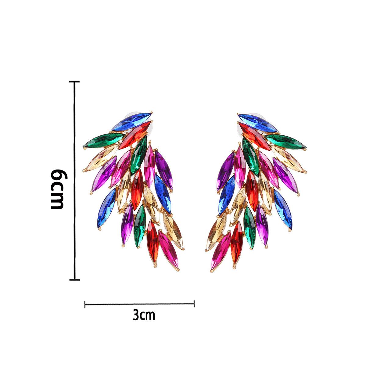 Rhinestone Design Rainbow Color Earring Set
