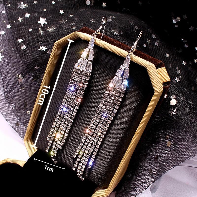 1 Pair Tassel Design Rhinestone Silver Earrings