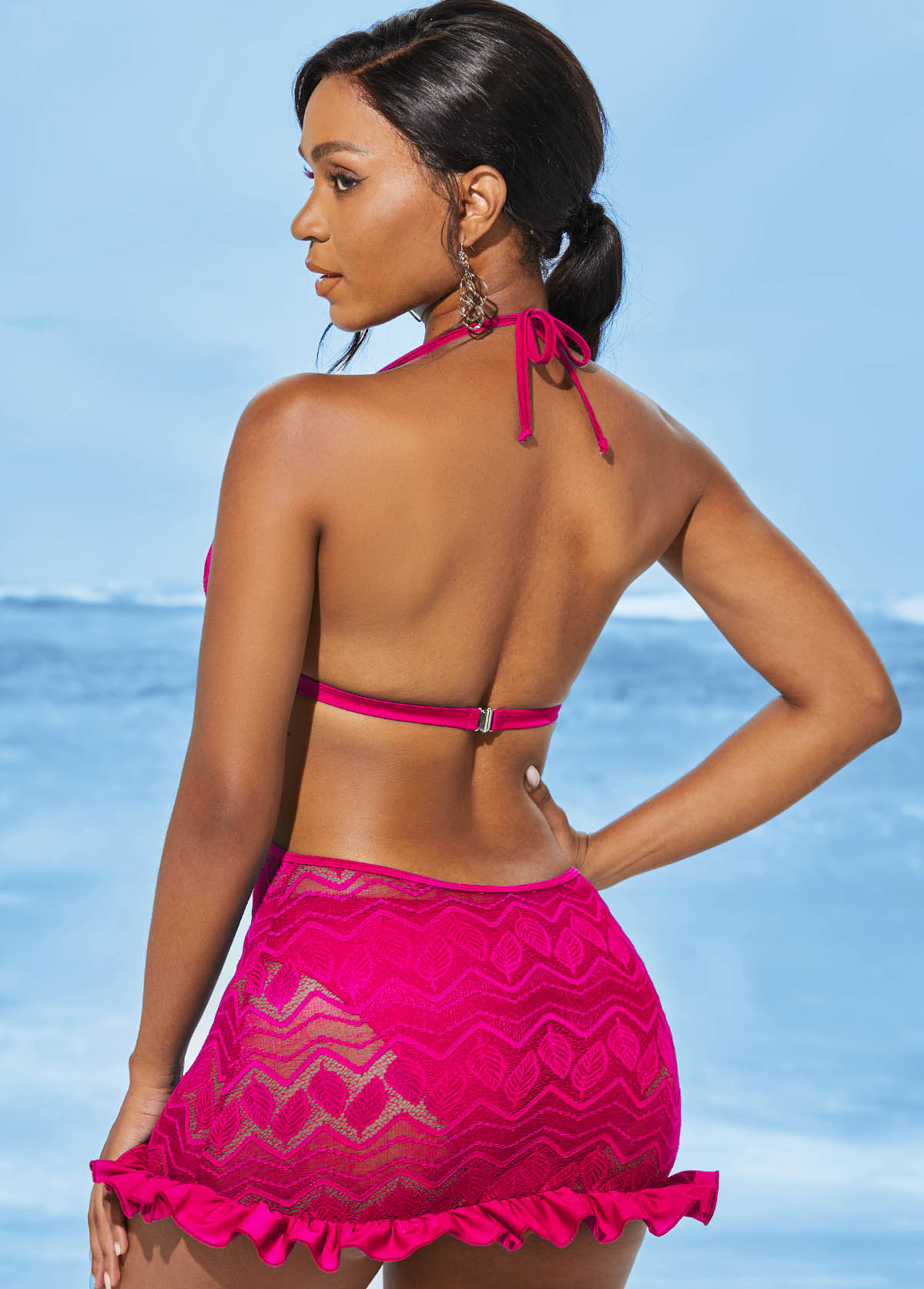 Open Back Lace Solid Halter Swimdress and Panty