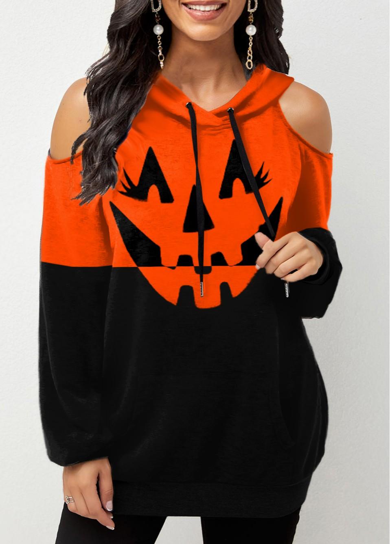Halloween Print Cold Shoulder Pocket Hoodie