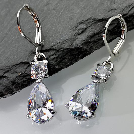 Waterdrop Design Silver Metal Detail Earrings