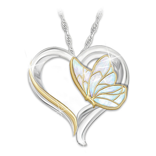 Butterfly Detail Metal Heart Design Necklace