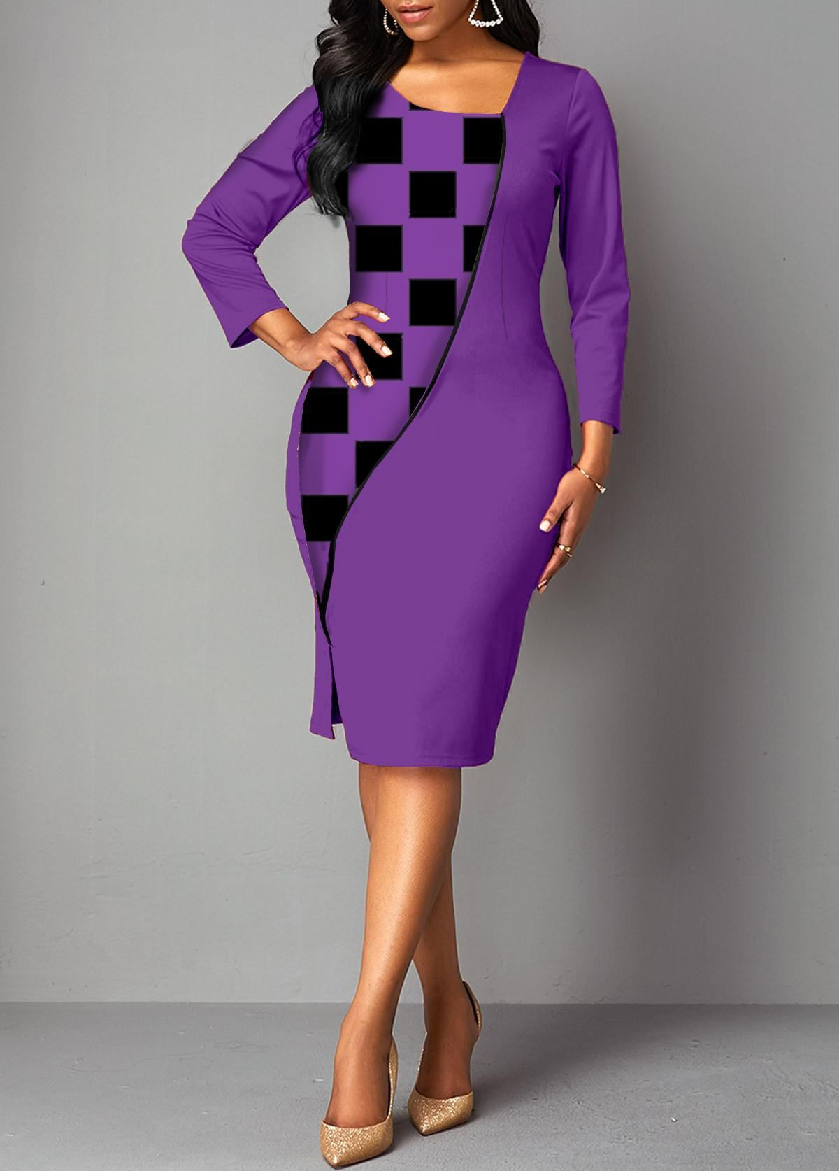 Plaid 3/4 Sleeve Asymmetrical Neck Dress