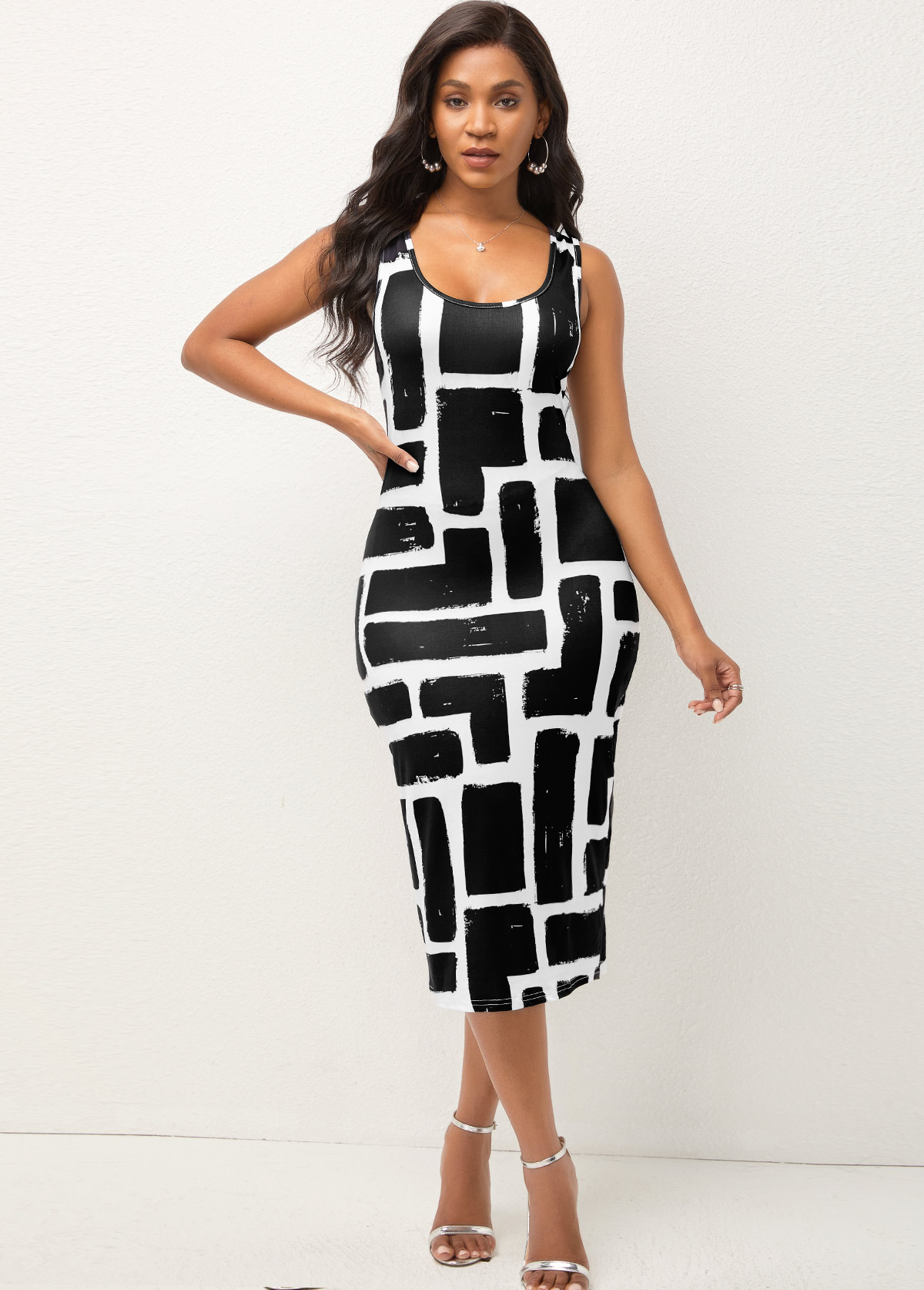 Wide Strap Geometric Print Bodycon Dress