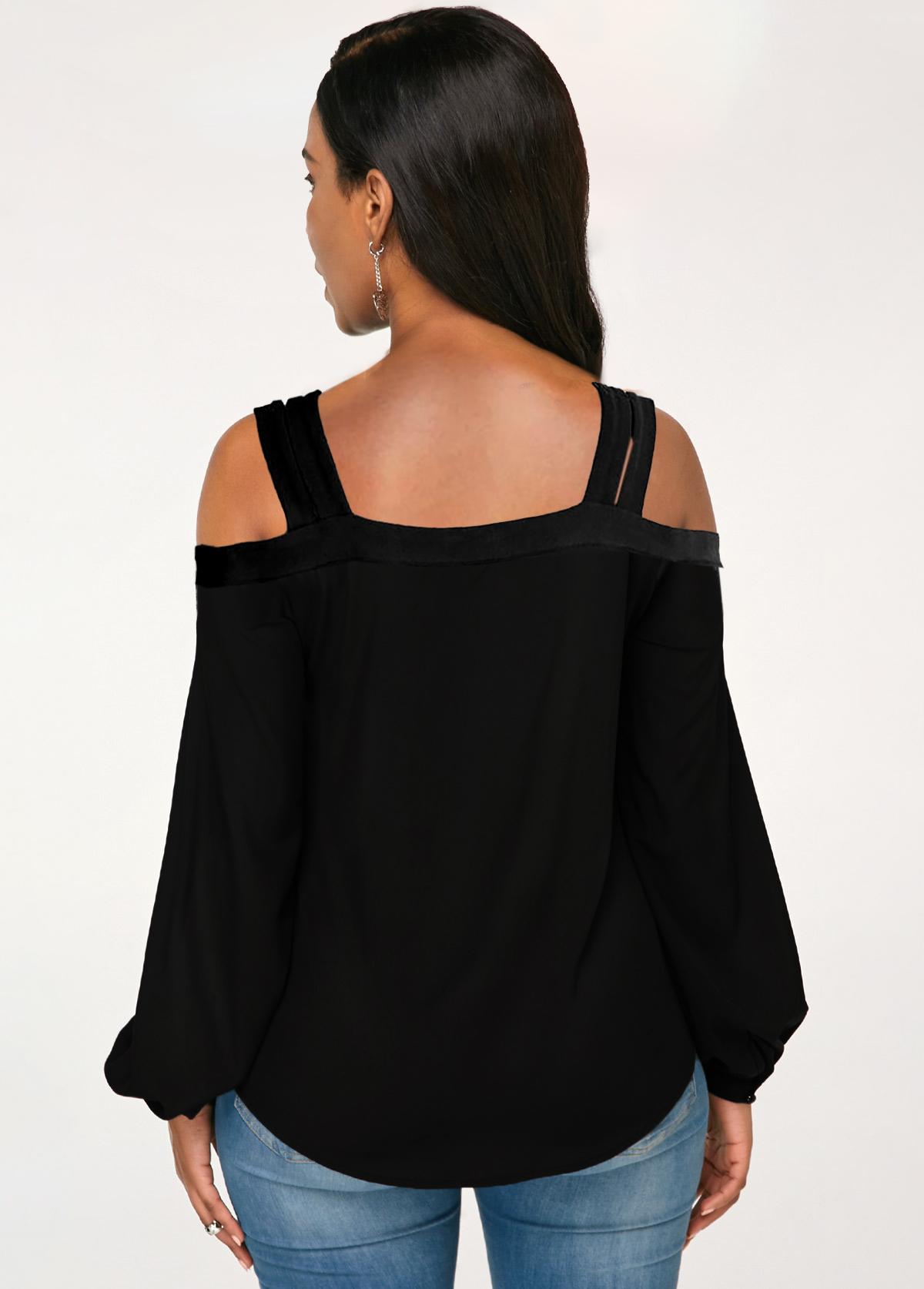 Double Straps Cold Shoulder Solid T Shirt