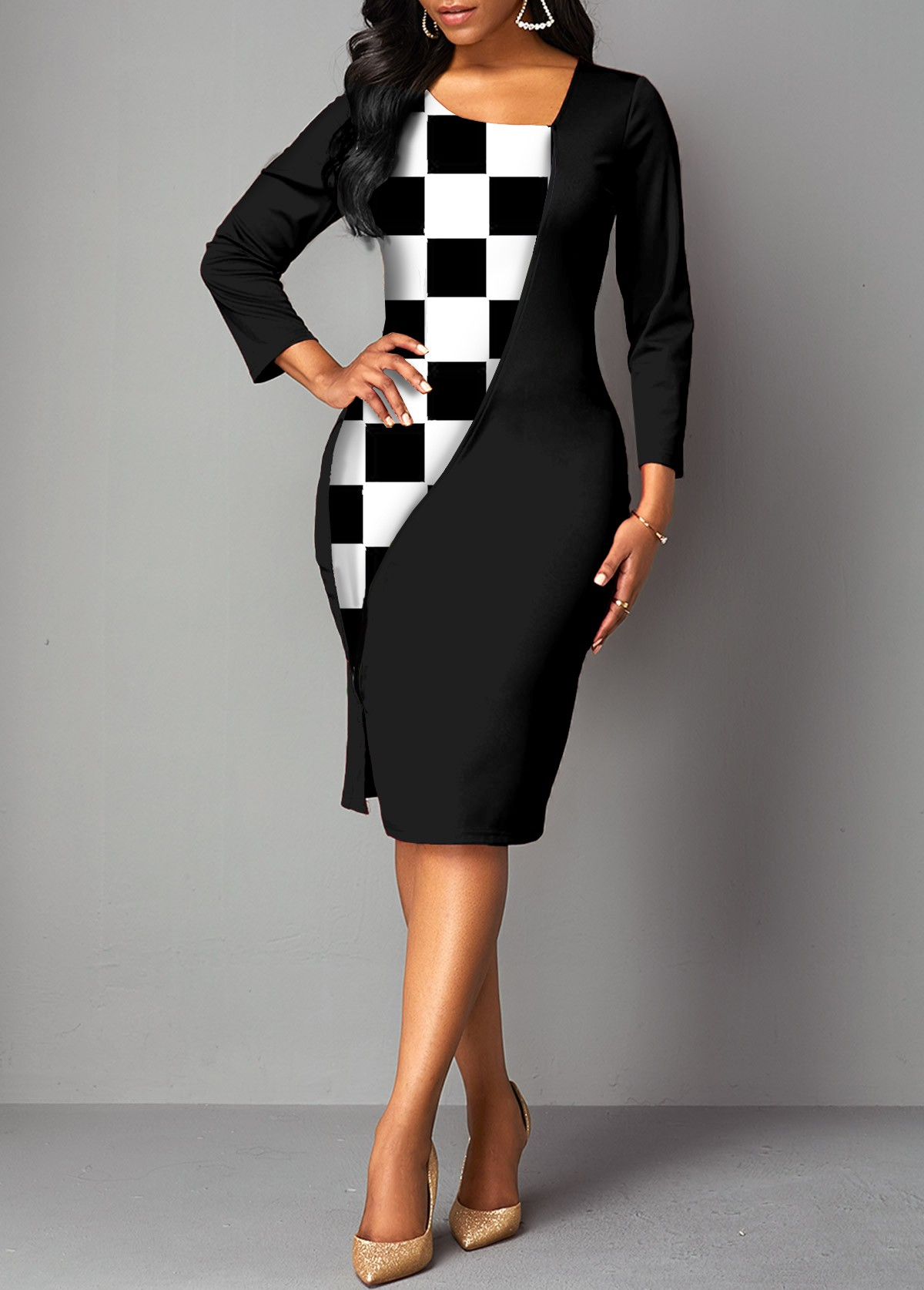 3/4 Sleeve Checkered Asymmetric Neck Dress