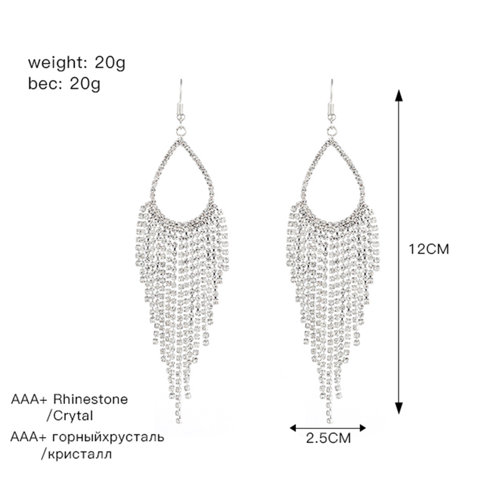 Silver Rhinestone Detail Tassel Design Earrings