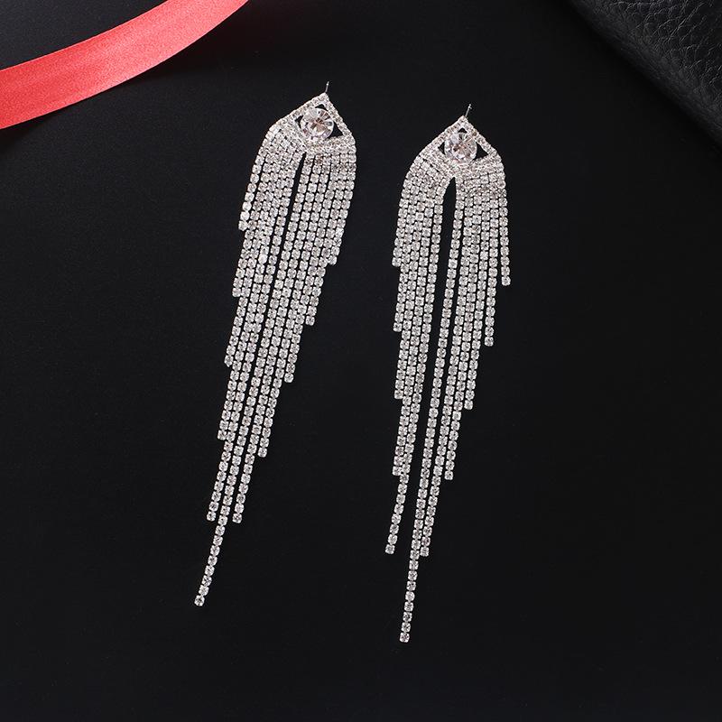 Rhinestone Detail Tassel Design Silver Earrings