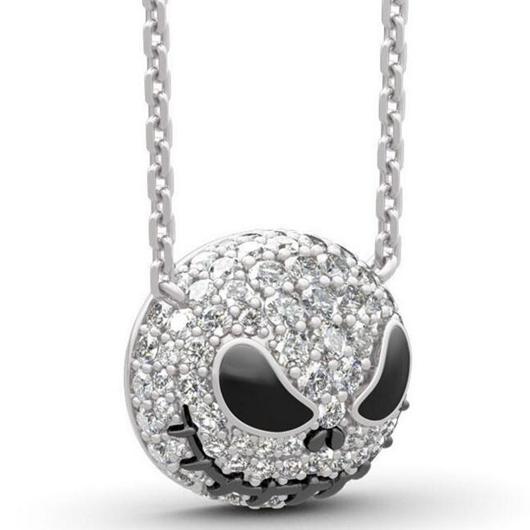 Metal Skull Design Rhinestone Detail Necklace