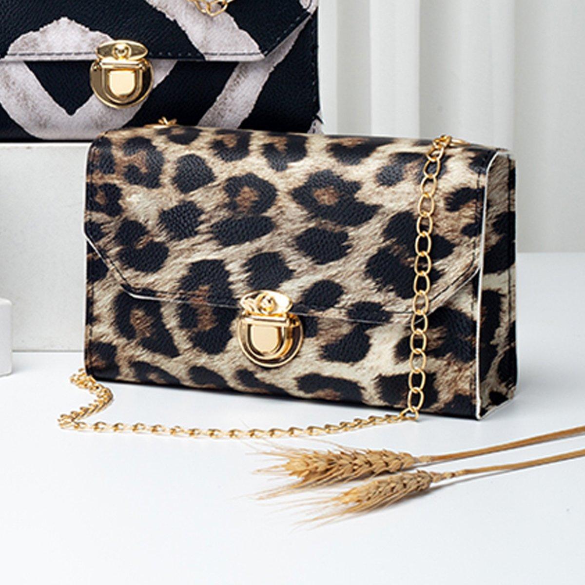 Leopard Gold Chain PU CrossBody Messenger Bag