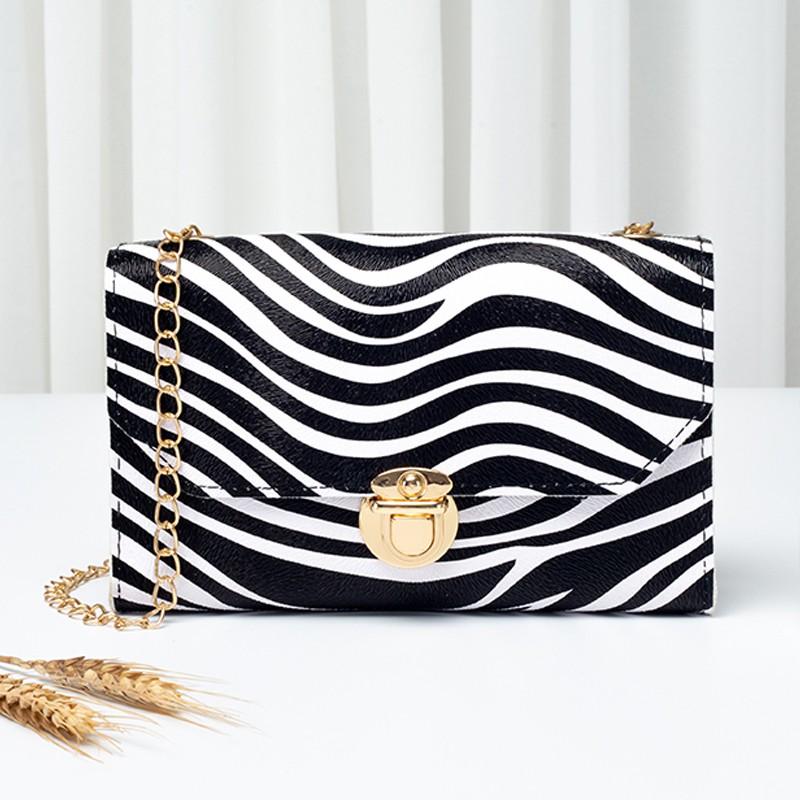 PU Zebra Print Gold Chain CrossBody Messenger Bag