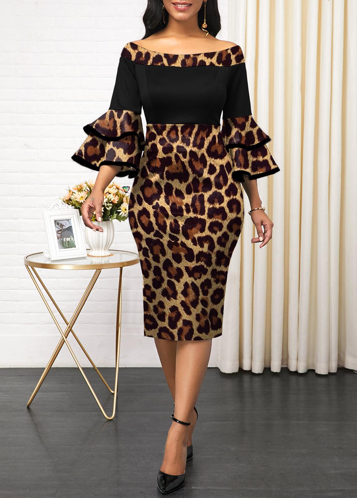 Layered Bell Sleeve Leopard Off Shoulder Dress