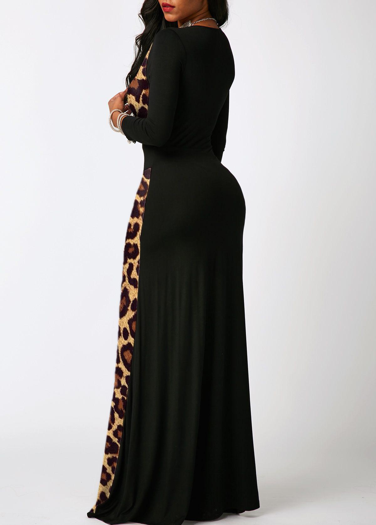 Contrast 3/4 Sleeve Leopard Maxi Dress