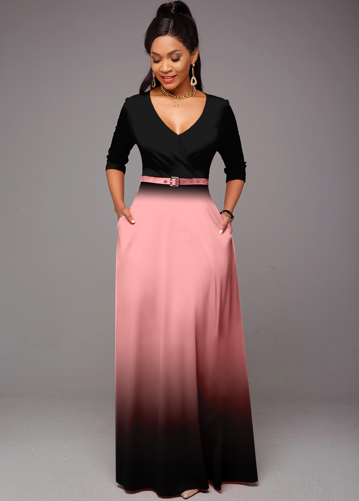 Ombre Double Side Pockets Belted Dress