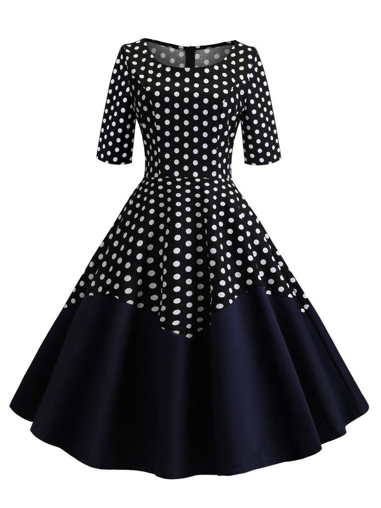 Half Sleeve Polka Dot Round Neck Dress