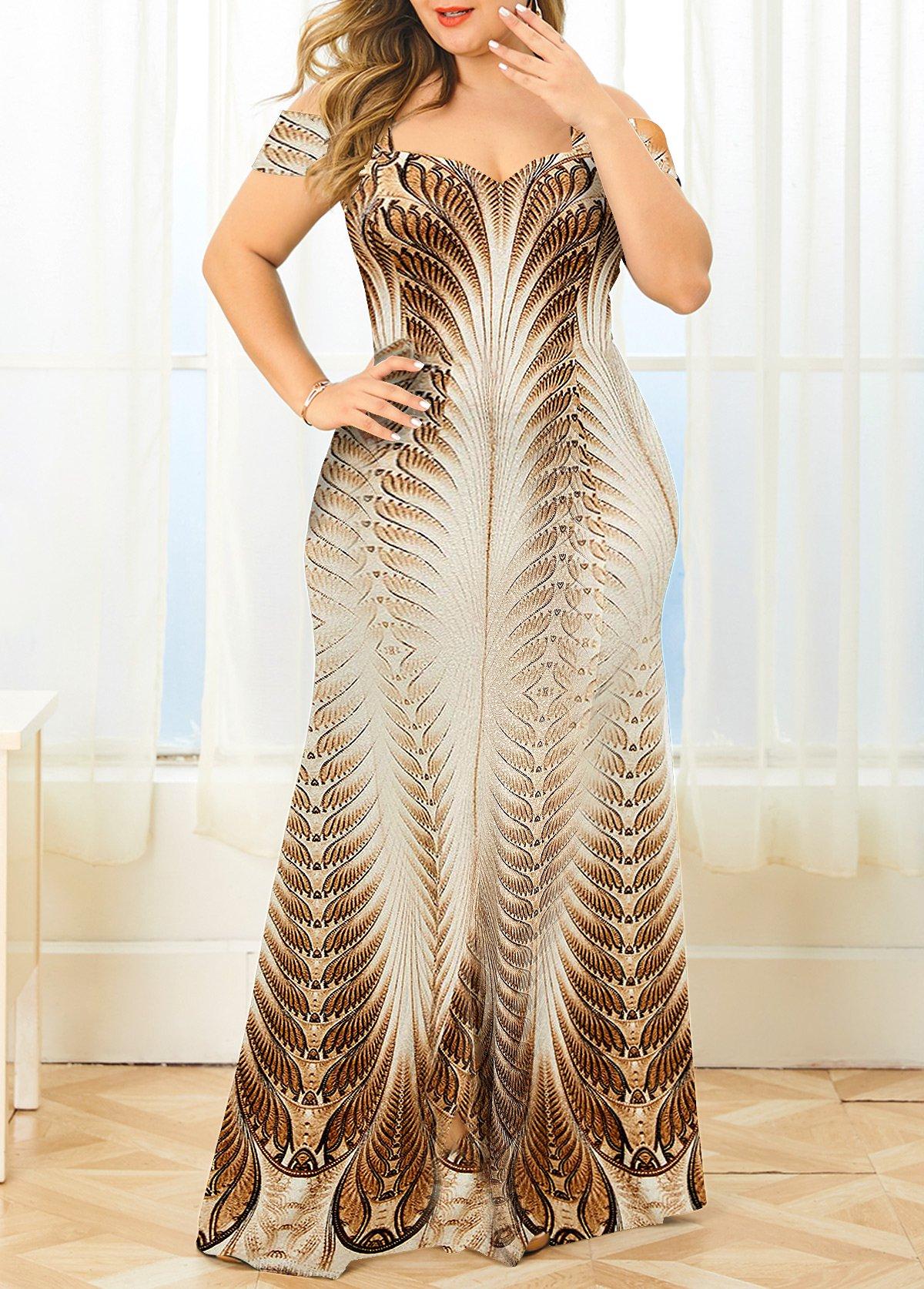 Cold Shoulder Hot Stamping Plus Size Dress