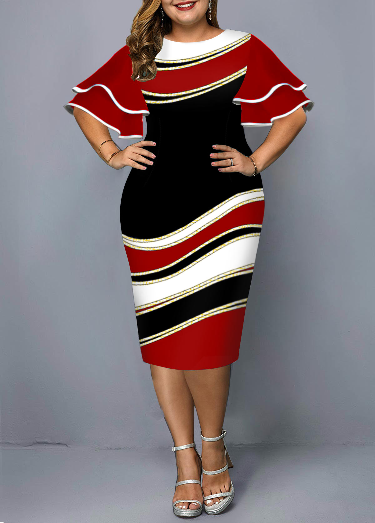 Layered Bell Sleeve Geometric Print Plus Size Dress