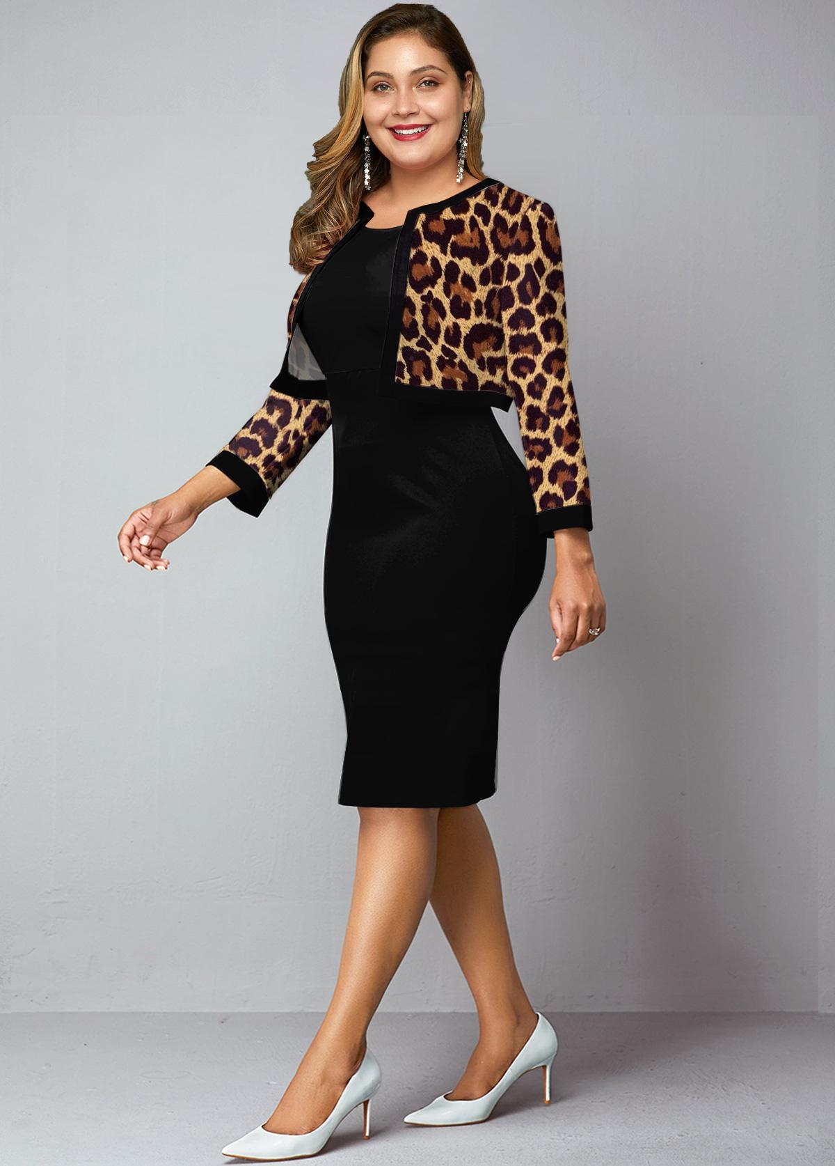 Plus Size Leopard Cardigan and Bodycon Dress