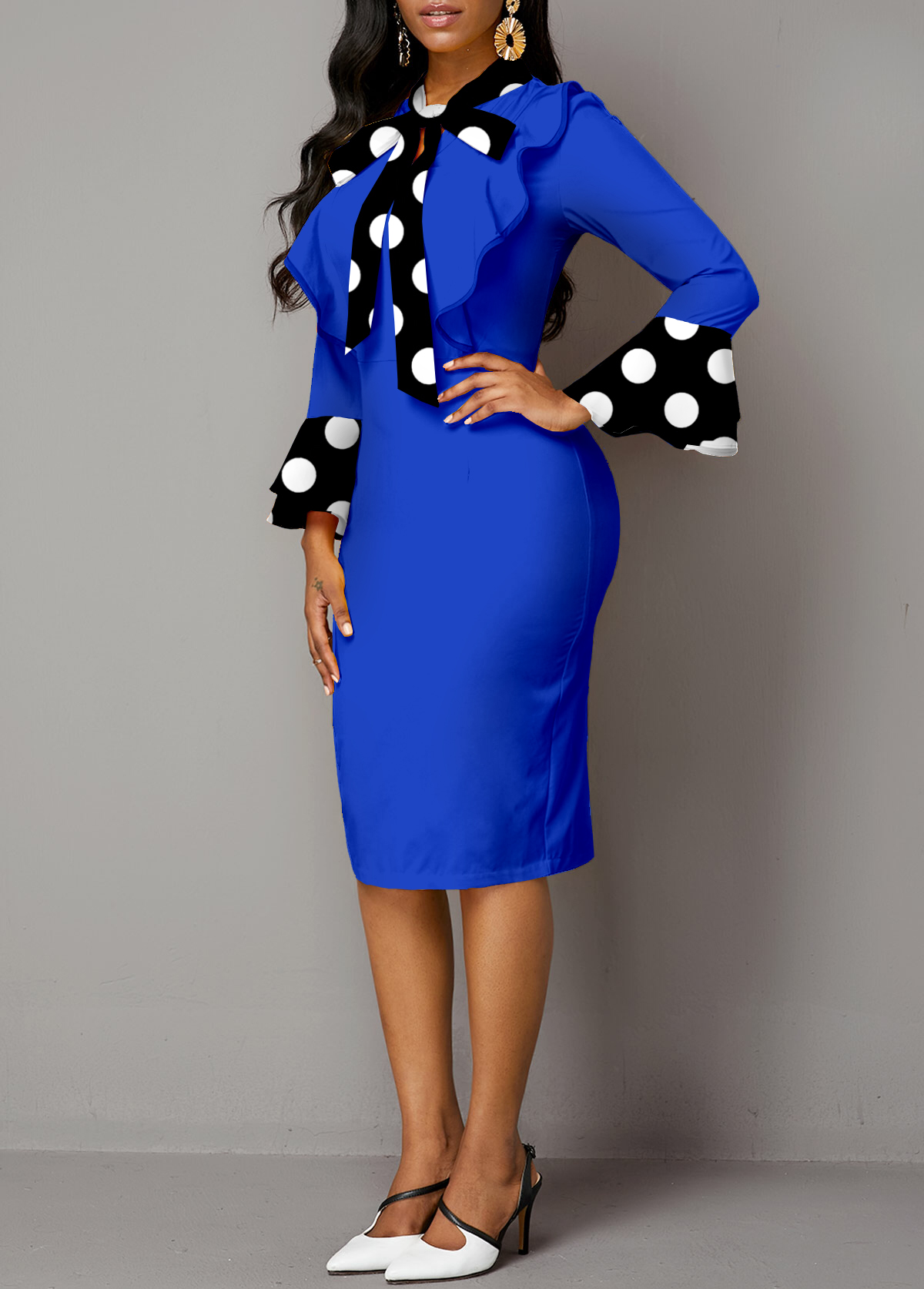 Polka Dot Tie Flare Sleeve Dress