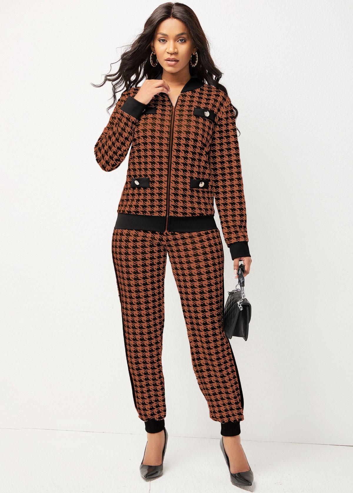 Long Sleeve Houndstooth Print Zipper Closure Sweatsuit