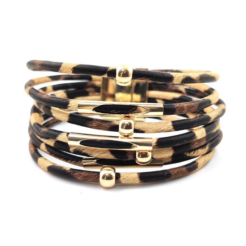 Leather Leopard Design Metal Detail Bangle