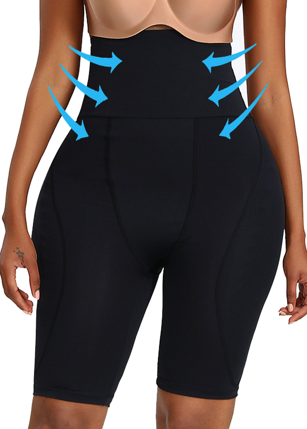 Solid Elastic Detail High Waist Skinny Panties
