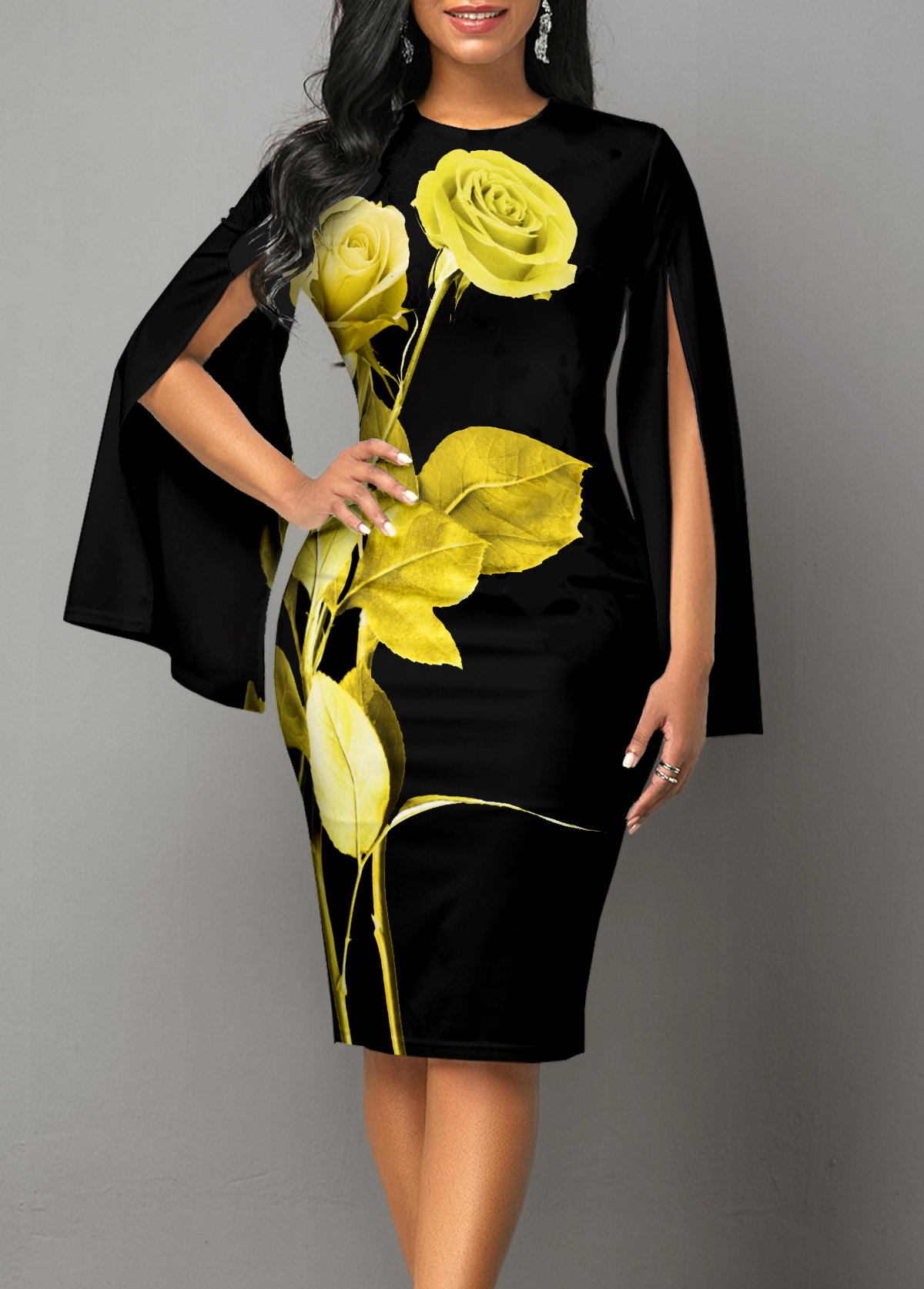 Floral Print Long Sleeve Round Neck Dress