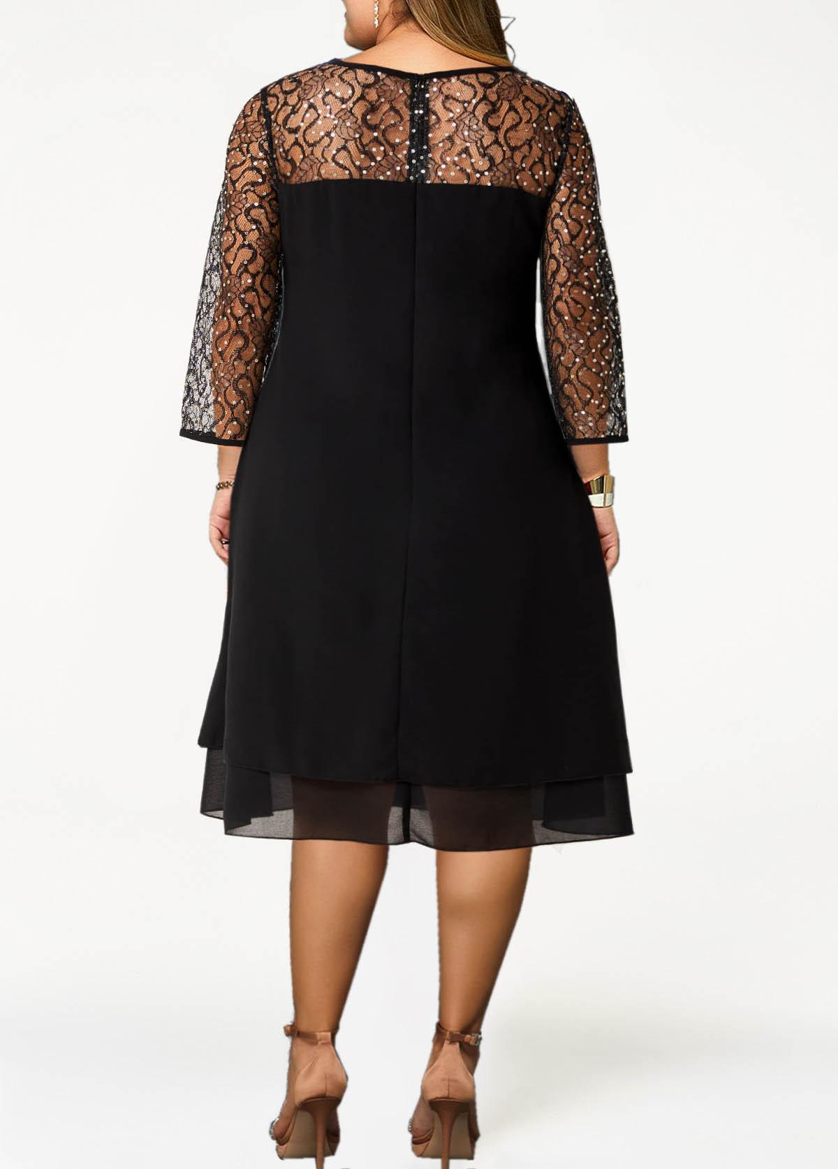 Sequin Plus Size Round Neck 3/4 Sleeve Dress