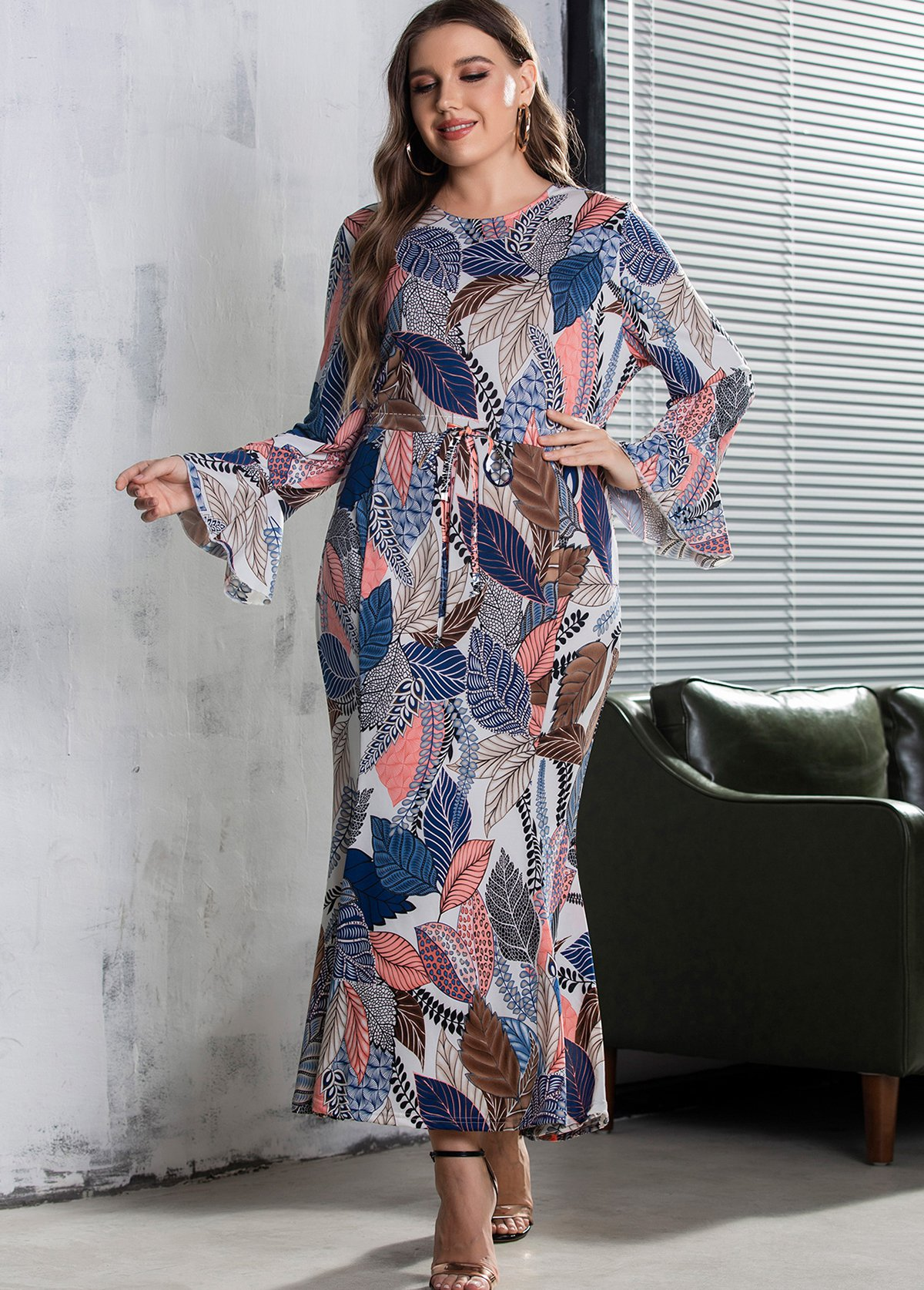 Leaf Print Plus Size Round Neck Dress