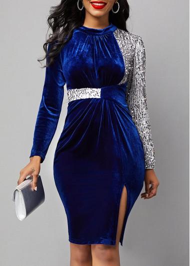 Rosewe Cocktail Party Dress Velvet Stitching Side Slit Royal Blue Sequin Dress - L