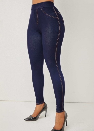 Rosewe Skinny Denim Blue High Waisted Jeans - 3XL