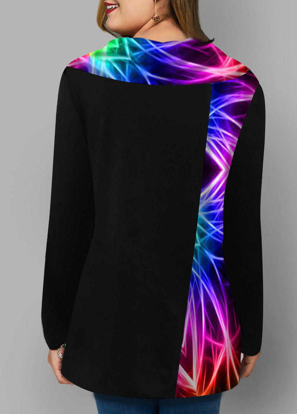 Rainbow Color Printed Inclined Button Plus Size Tunic Top