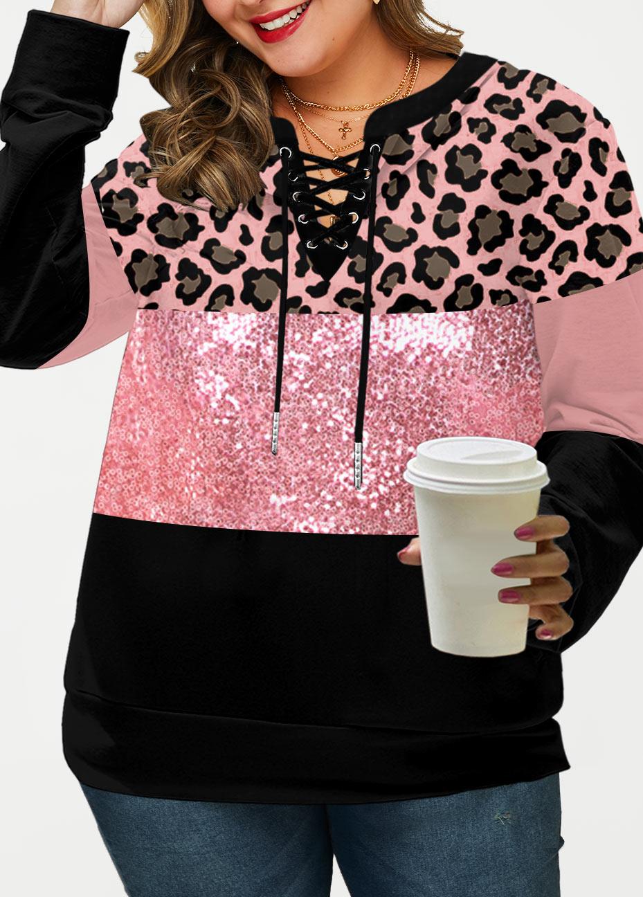 Lace Up Leopard Sequin Panel Plus Size Sweatshirt