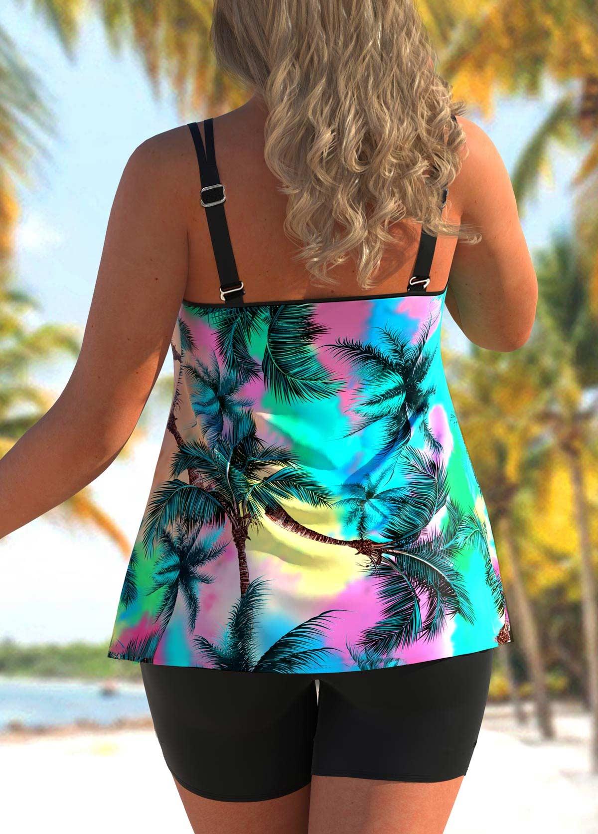 Tropical Print Double Straps Plus Size Tankini Set