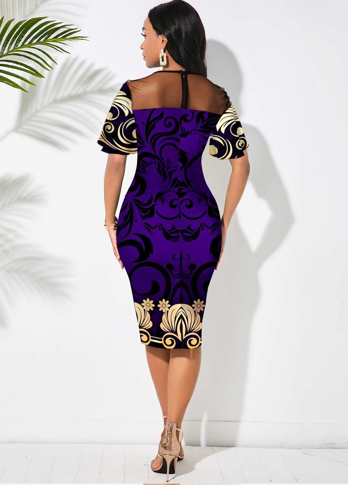 Mesh Stitching Floral Print Round Neck Dress