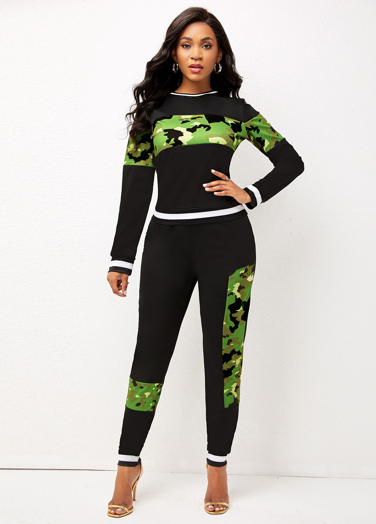 Contrast Camouflage Print Long Sleeve Sweatsuit