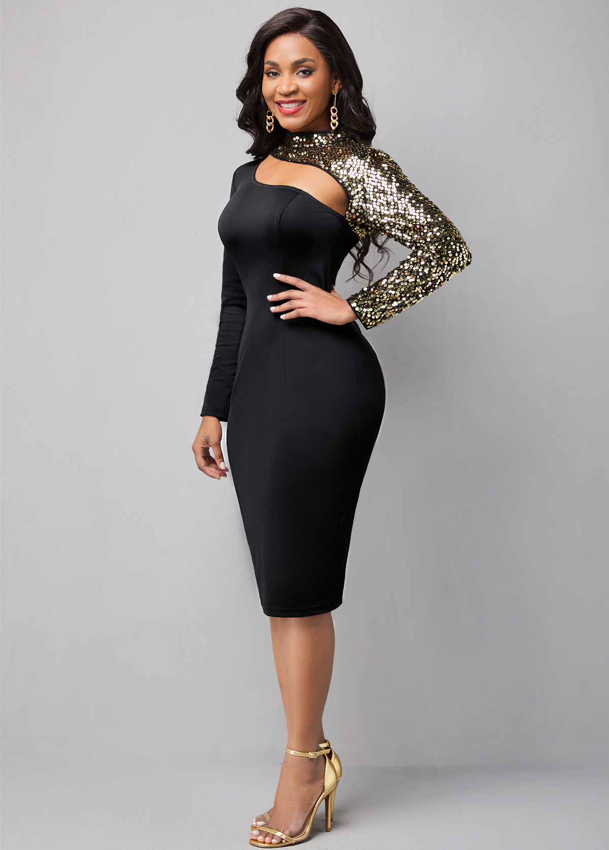 Long Sleeve Cutout Front Sequin Dress