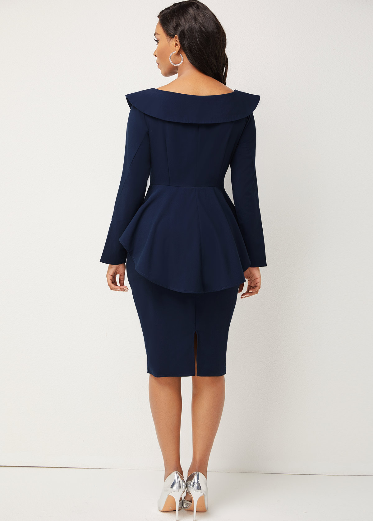 Long Sleeve Turndown Collar Peplum Waist Dress