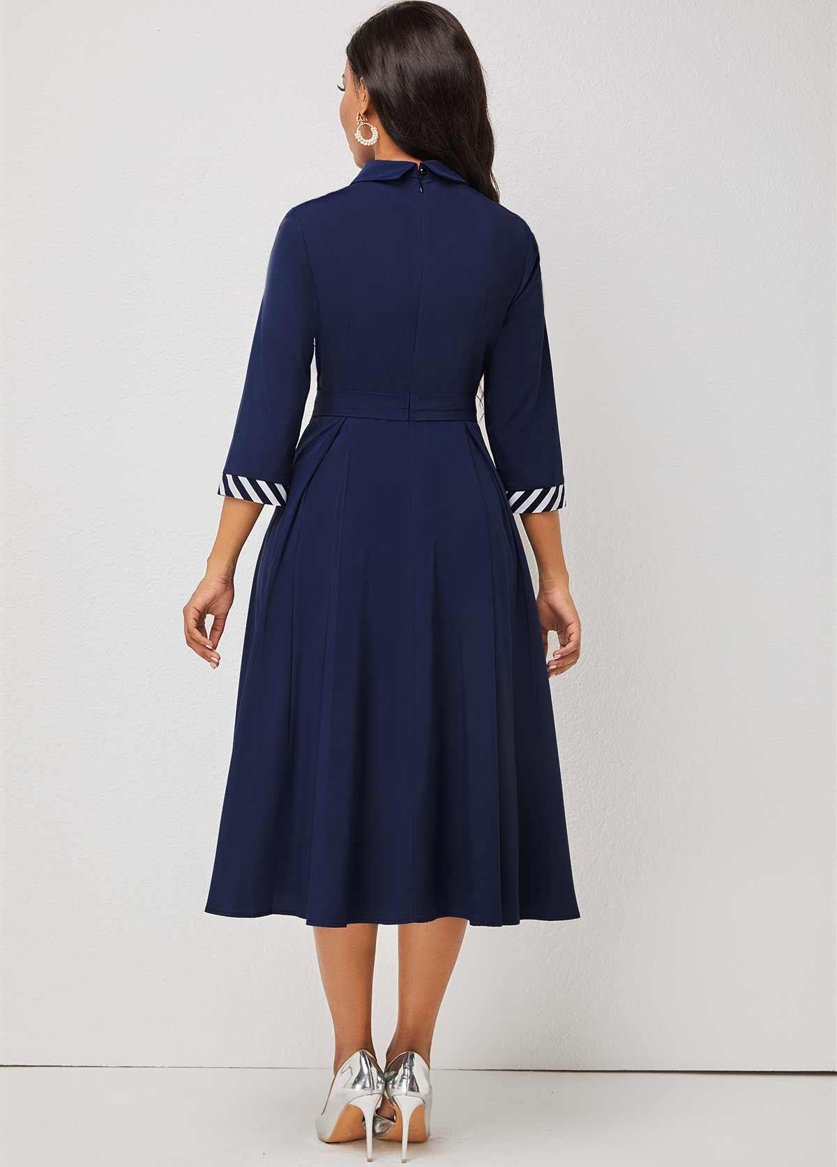 Stripe Print Decorative Button 3/4 Sleeve Turndown Collar Dress
