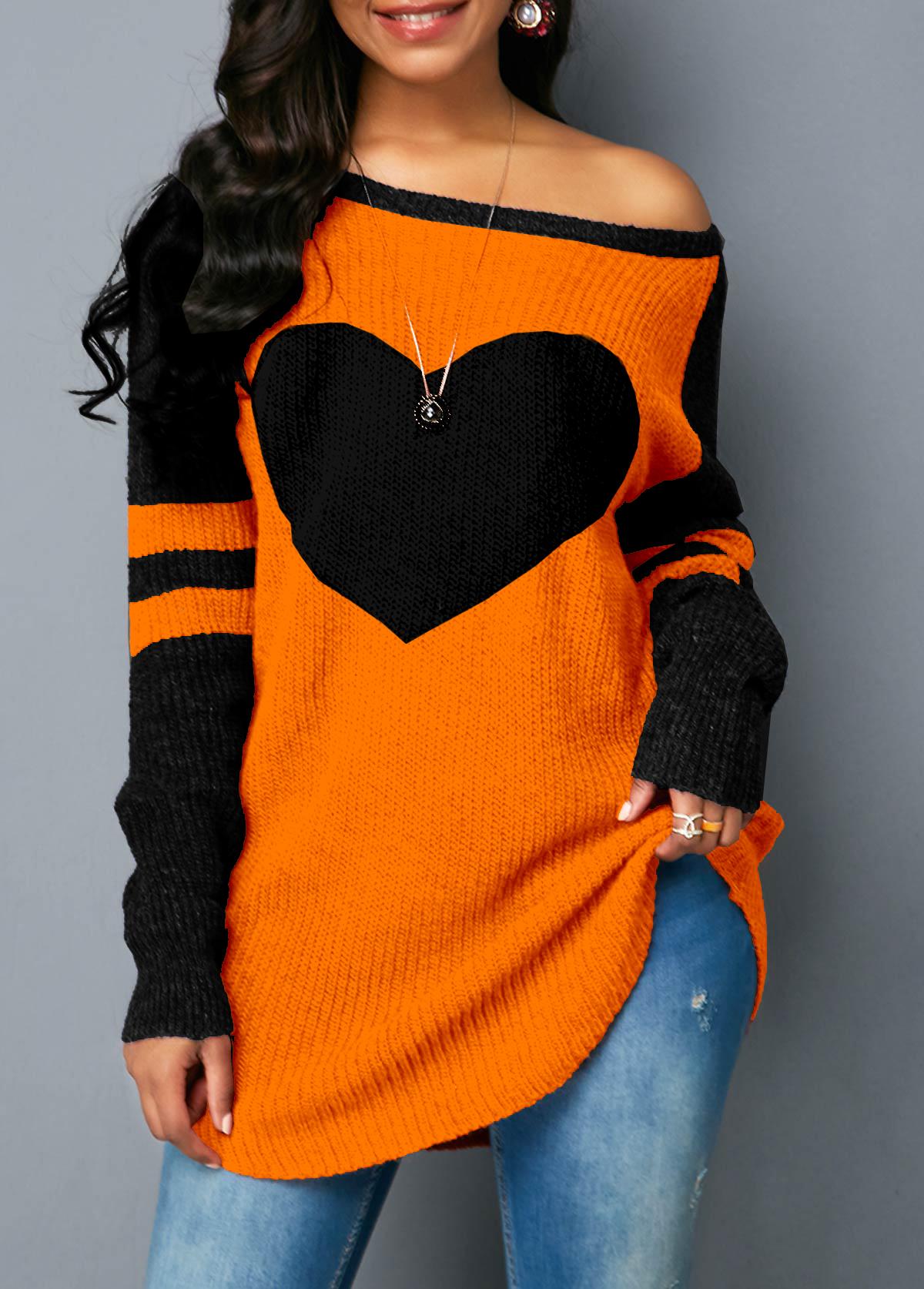 Contrast Heart Design Long Sleeve Sweater