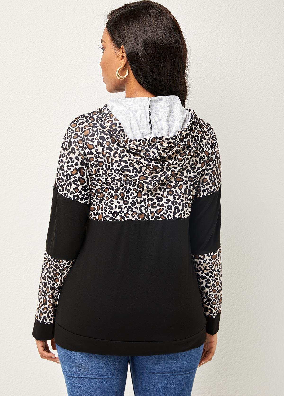 Drawstring Detail Leopard Long Sleeve Hoodie