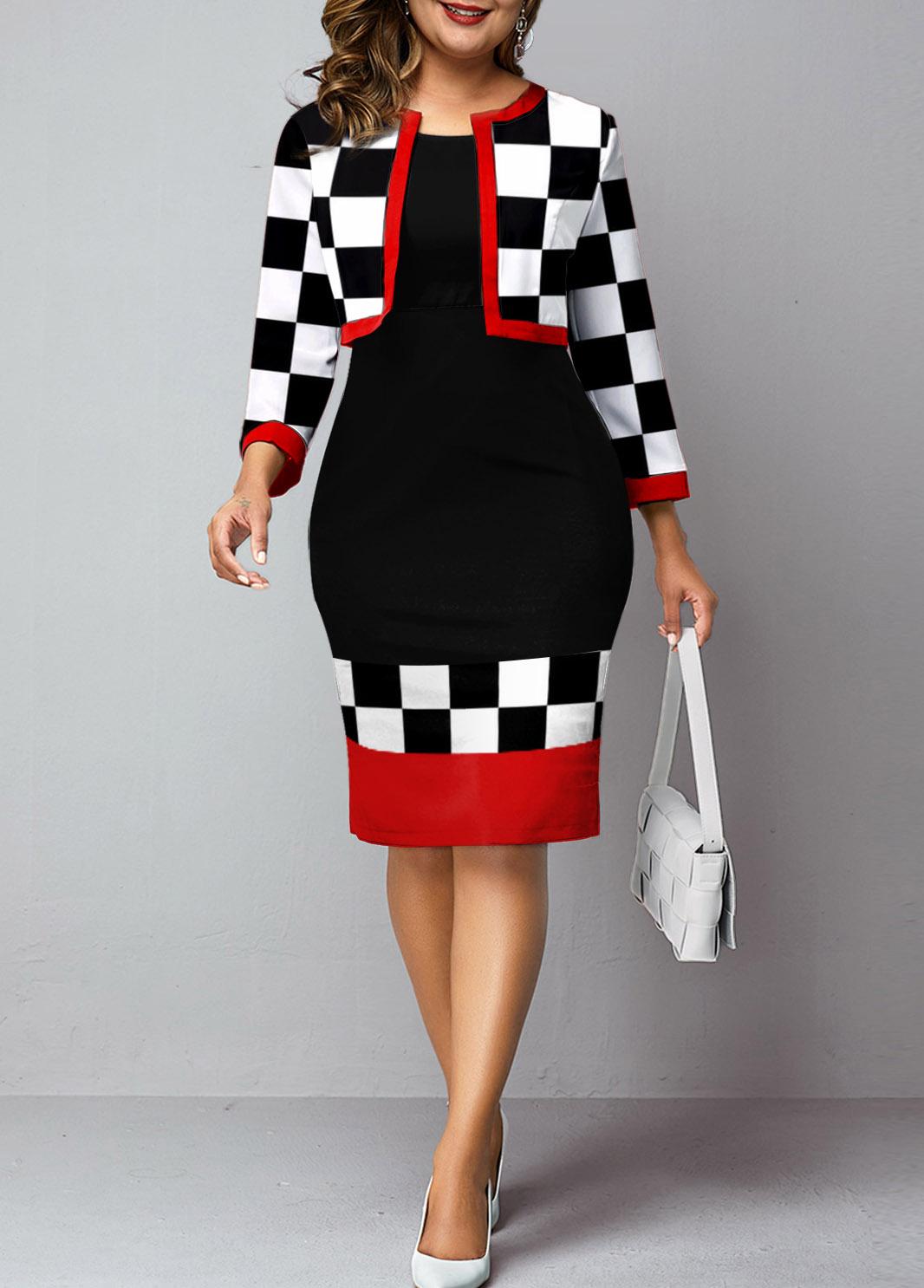 Checkerboard Pattern Two Piece Plus Size Dress