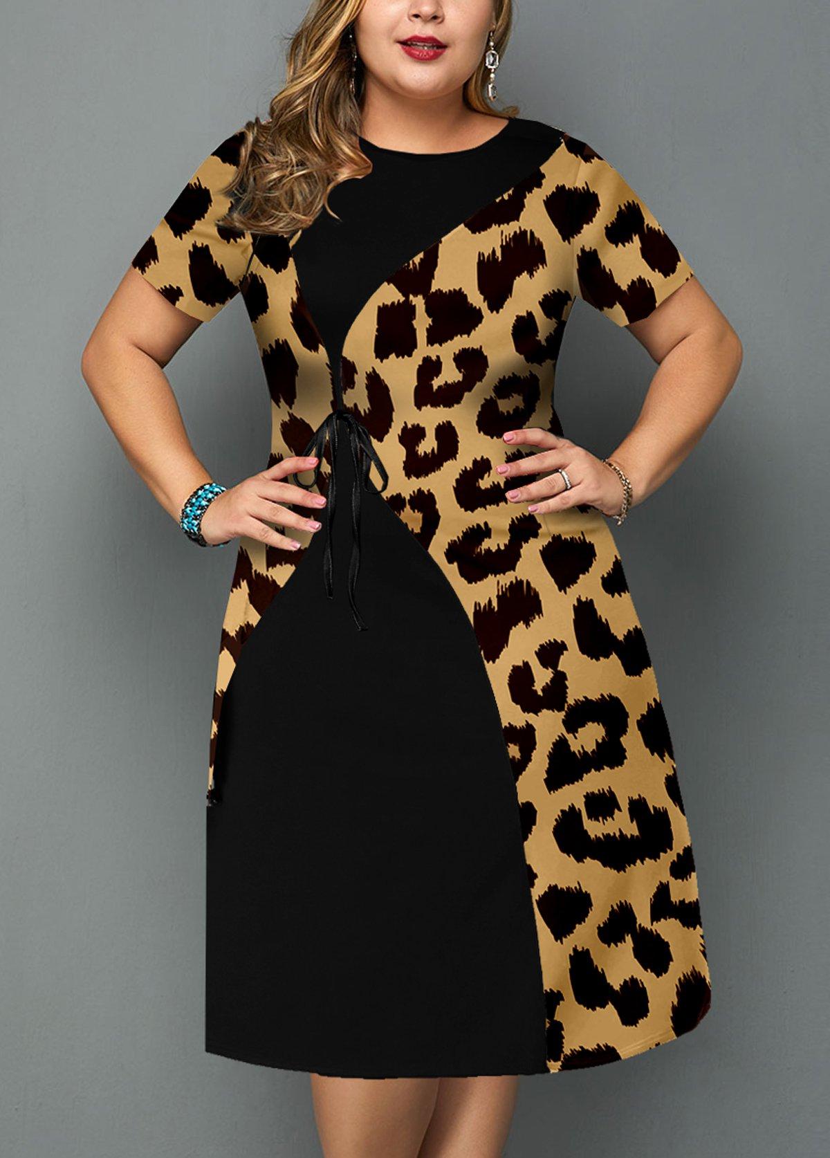 Leopard Plus Size Short Sleeve Round Neck Dress